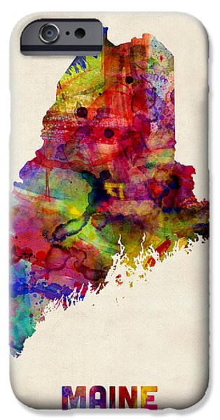 Maine iPhone Cases - Maine Watercolor Map iPhone Case by Michael Tompsett