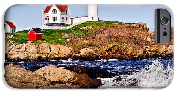 Nubble Lighthouse iPhone Cases - Maines Nubble Light iPhone Case by Mitchell R Grosky