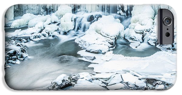 Winter In Maine iPhone Cases - Maines Winter Wonderland Tidal Waterfall iPhone Case by Stroudwater Falls Photography