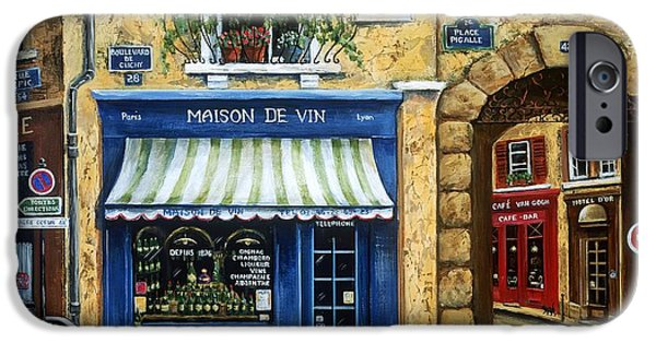 Window Paintings iPhone Cases - Maison De Vin iPhone Case by Marilyn Dunlap