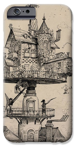 Pen And Ink Photographs iPhone Cases - Maison Tournante Arienne 1883 iPhone Case by Daniel Hagerman