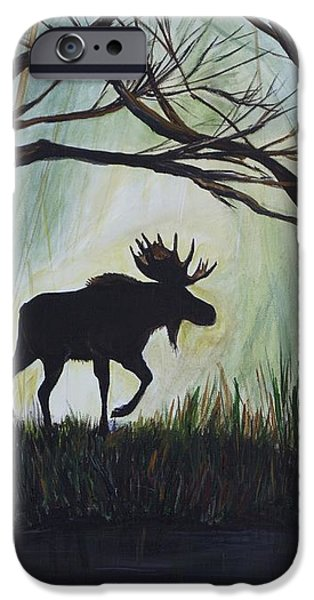 Majestic Bull Moose iPhone Case by Leslie Allen