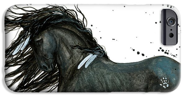 Horses iPhone Cases - Majestic Friesian 112 iPhone Case by AmyLyn Bihrle