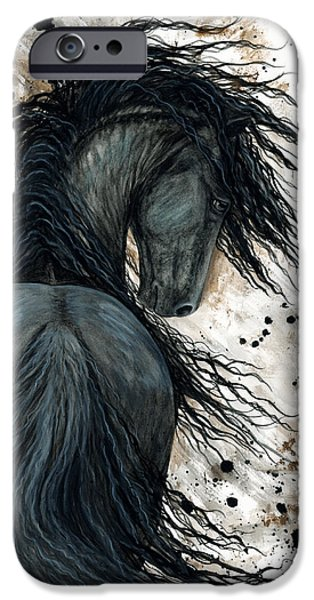 Stallion iPhone Cases - Majestic Friesian Horse 123 iPhone Case by AmyLyn Bihrle