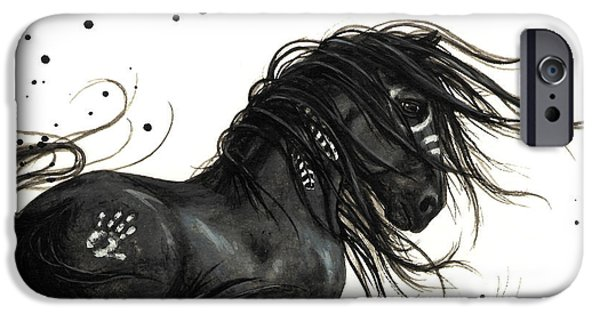 Native American Spirit Portrait iPhone Cases - Majestic Friesian 48 iPhone Case by AmyLyn Bihrle