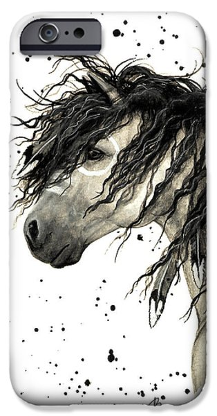 Mustang Paintings iPhone Cases - Majestic Grey Spirit Horse #44 iPhone Case by AmyLyn Bihrle