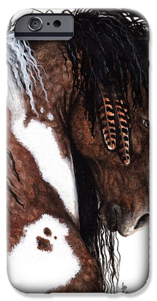 Pinto Paintings iPhone Cases - Majestic Gypsy Horse 131 iPhone Case by AmyLyn Bihrle