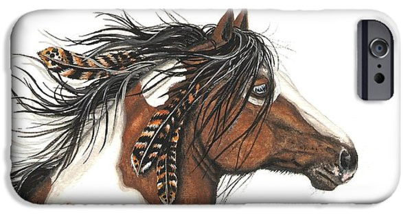 Pinto Paintings iPhone Cases - Majestic Horse Series 32 iPhone Case by AmyLyn Bihrle