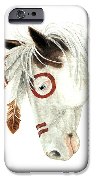 Medicine Paintings iPhone Cases - Majestic Horse Medicine Hat 41 iPhone Case by AmyLyn Bihrle