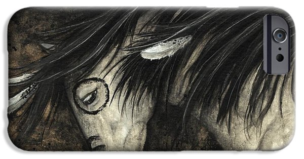 Pinto Paintings iPhone Cases - Majestic Dapple Horse 58 iPhone Case by AmyLyn Bihrle
