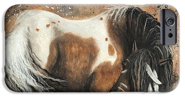 Pinto Paintings iPhone Cases - Majestic Horse Series 74 iPhone Case by AmyLyn Bihrle