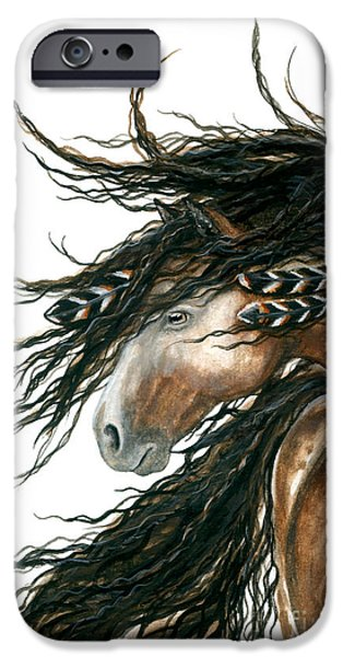 Mustang iPhone Cases - Majestic Pinto Horse 80 iPhone Case by AmyLyn Bihrle