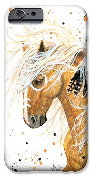 Pinto Paintings iPhone Cases - Majestic Palomino Horse 84 iPhone Case by AmyLyn Bihrle