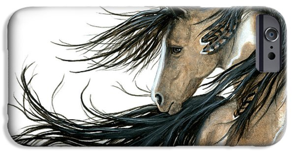 Painted Paintings iPhone Cases - Majestic Horse Series 89 iPhone Case by AmyLyn Bihrle