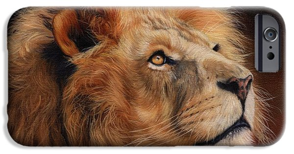 Lion Art iPhone Cases - Majestic Lion iPhone Case by David Stribbling