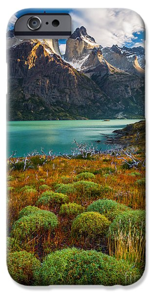 Park Scene iPhone Cases - Majestic Los Cuernos iPhone Case by Inge Johnsson