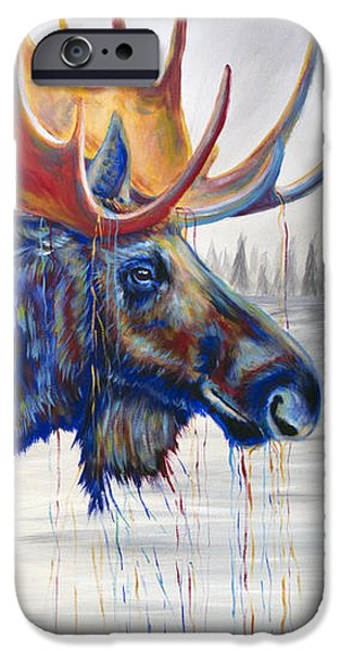 Maine Landscapes Paintings iPhone Cases - Majestic Moose iPhone Case by Teshia Art