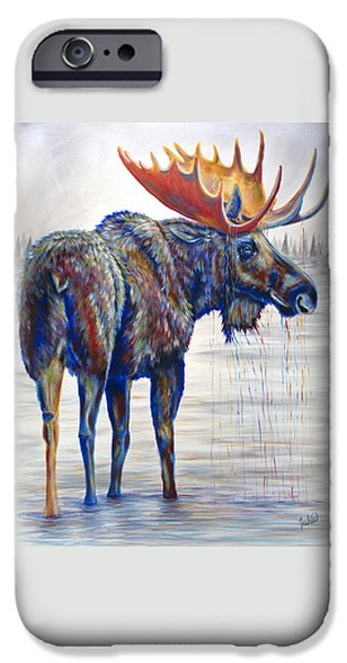 Lime Paintings iPhone Cases - Majestic Moose iPhone Case by Teshia Art