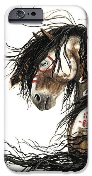Paint Horse iPhone Cases - Majestic Mustang 46 iPhone Case by AmyLyn Bihrle