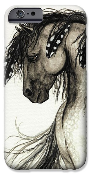 Wild Horses iPhone Cases - Majestic Mustang Horse Series #51 iPhone Case by AmyLyn Bihrle