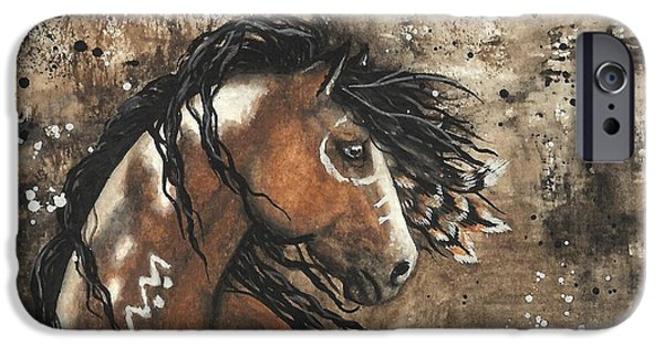 Native American Art iPhone Cases - Majestic Mustang Series 61 iPhone Case by AmyLyn Bihrle