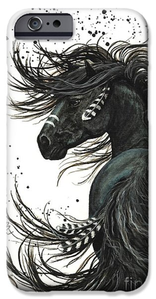 Native American Spirit Portrait iPhone Cases - Majestic Spirit Horse 65 iPhone Case by AmyLyn Bihrle