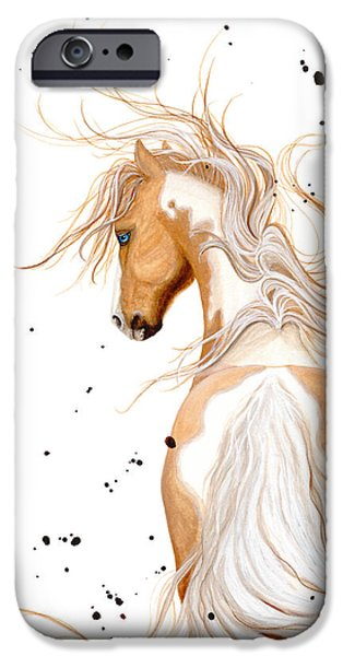 Pinto Paintings iPhone Cases - Majestic Palomino Pinto 121  iPhone Case by AmyLyn Bihrle