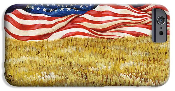 4th July Paintings iPhone Cases - Majestic Patriot Mountains iPhone Case by Donella OGorman