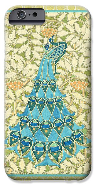 Recently Sold -  - Floral Digital Art Digital Art iPhone Cases - Majestic Peacock-B iPhone Case by Jean Plout