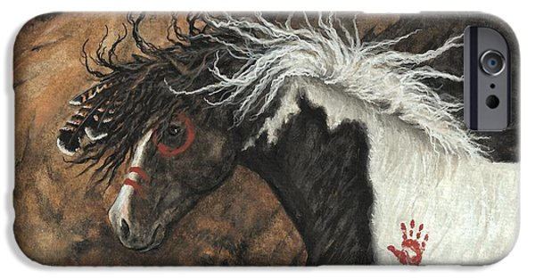 Mustang Horse iPhone Cases - Majestic Pinto Horse 78 iPhone Case by AmyLyn Bihrle