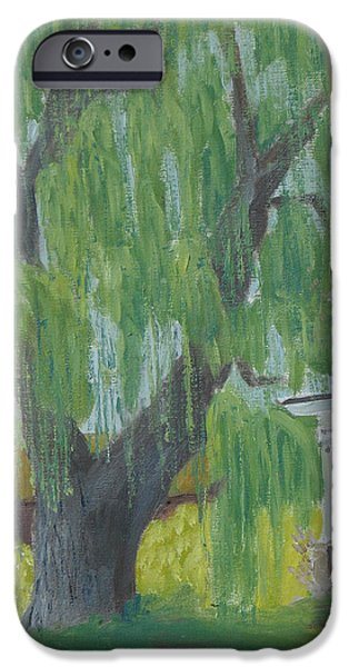 Willow Lake Paintings iPhone Cases - Majestic Willow iPhone Case by Robert P Hedden