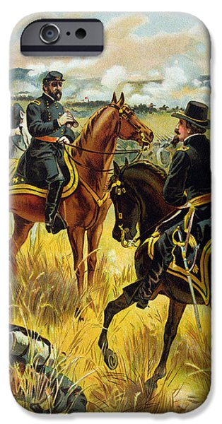 Soldier Field iPhone Cases - Major General George Meade at the Battle of Gettysburg iPhone Case by Henry Alexander Ogden