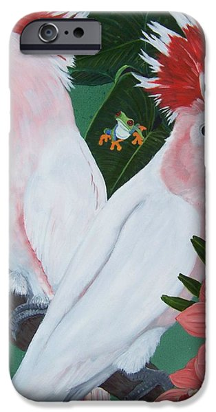 Cockatoo iPhone Cases - Major Mitchell Cockatoos iPhone Case by Debbie LaFrance