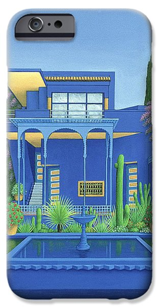 Moroccan iPhone Cases - Majorelle Gardens, Marrakech, 1996 Carylic On Linen See 186509 iPhone Case by Larry Smart