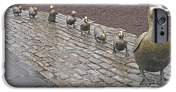 Bronze iPhone Cases - Make way for ducklings iPhone Case by Barbara McDevitt