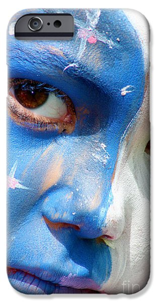 Visage Bleu iPhone Cases - Makeup day iPhone Case by Loic  GIRAUD