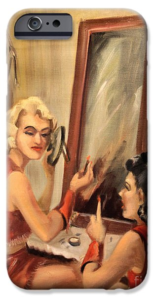 Dressing Room Paintings iPhone Cases - Makeup Time 1940 iPhone Case by Art By Tolpo Collection