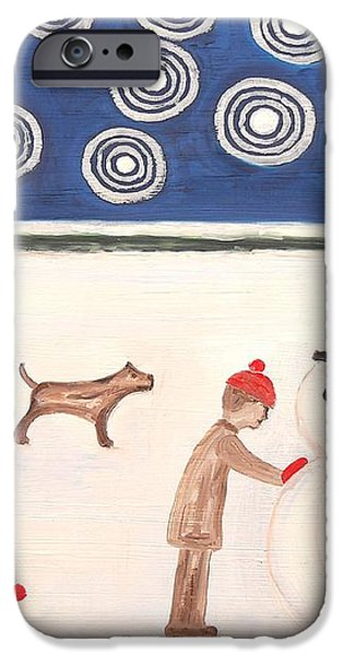 MAKING A SNOWMAN AT CHRISTMAS iPhone Case by Patrick J Murphy