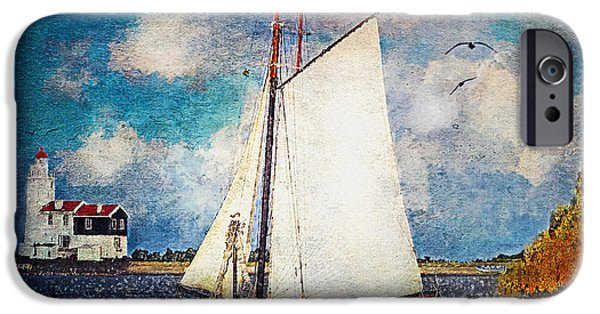 Sailboat Ocean iPhone Cases - Making for Safe Harbor iPhone Case by Lianne Schneider