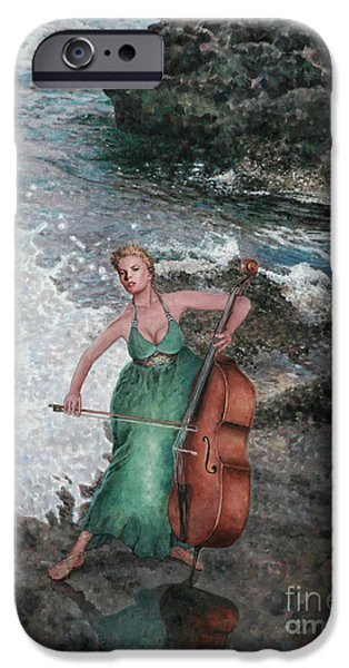 Drama iPhone Cases - Making Music Triptych Panel Three iPhone Case by Theo Michael