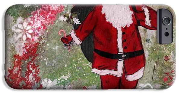 Santa iPhone Cases - Making Spirits Bright iPhone Case by Janelle Nichol