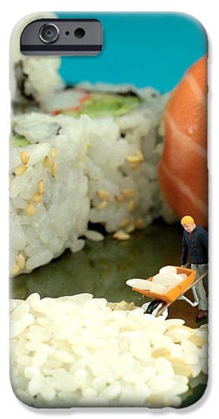 Making Sushi little people on food iPhone Case by Paul Ge