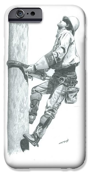 Power Drawings iPhone Cases - Making The Climb iPhone Case by Brad Thyne