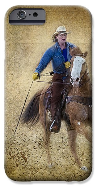 Horse Racing iPhone Cases - Making The Turn iPhone Case by Susan Candelario