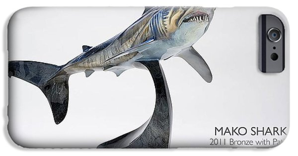 Shark Sculptures iPhone Cases - Mako Shark iPhone Case by Victor Douieb