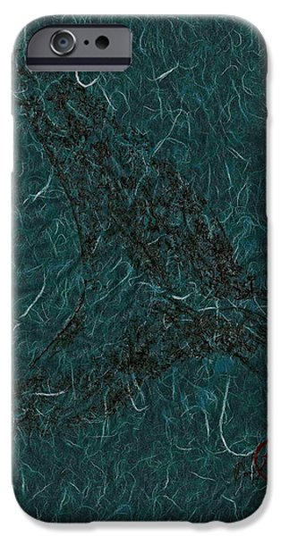 Sportfish Mixed Media iPhone Cases - Mako Tail on Pale Blue Unryu/Mulberry Paper iPhone Case by Jeffrey Canha