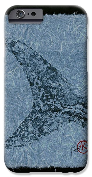 Sportfish Mixed Media iPhone Cases - Mako Tail on Pale Blue Unryu Paper iPhone Case by Jeffrey Canha