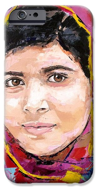 Inspired Paintings iPhone Cases - Malala Yousafzai iPhone Case by Richard Day