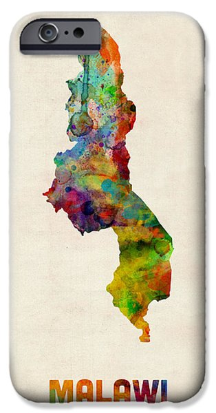 Malawi Watercolor Map iPhone Case by Michael Tompsett