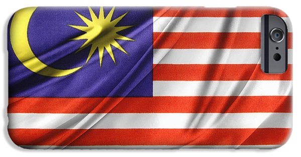 Textile Photographs iPhone Cases - Malaysian flag  iPhone Case by Les Cunliffe